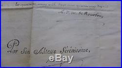 1786 Parchemin BREVET MAJOR VAISSEAU signé LOUIS Maréchal DE CASTRIE et BOURBON