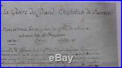 1808 rare diplôme maçonnique PAPIER pour Capitaine Inf. Loge LA PARFAITE REUNION