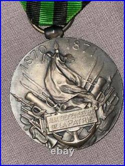 1870 médaille commemorative en argent agrafe engagé volontaire en argent