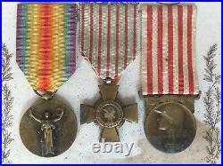 1914 1918 Tableau Sous Vitre En Memoire De La Grande Guerre 3 Medailles C1064