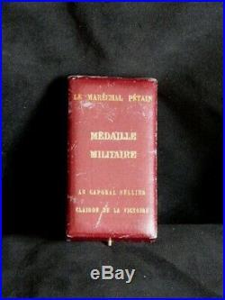 1918 Clairon Victoire Médaille Militaire Caporal SELLIER écrin Maréchal Pétain