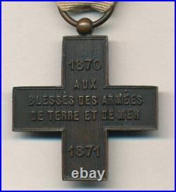 1er type croix société Française de secours aux blessés militaires 1870 1871