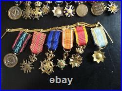 30 Medailles Miniatures Barrettes Legion Honneur Dragon Annam Anjouan