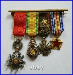 4 Médailles réductions Légion Honneur Blessés Croix guerre 1914-18 1870