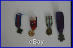 6 MEDAILLES FRANCAISES (petit format) plus 2 insignes forces françaises libre