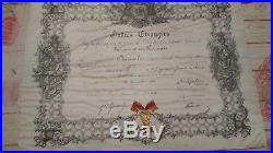 AUTOGRAPHE-NAPOLÉON III sur diplome + médaille ORDRES ETRANGERS 1860