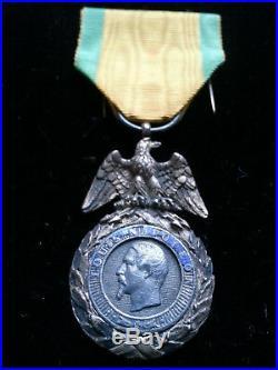 Ancienne MEDAILLE MILITAIRE ARGENT Louis Napoléon VALEUR DISCIPLINE 2nd Empire
