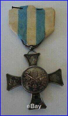 Ancienne Medaille Argent Croix La Bataille De Mentana 1867 États Pontificaux