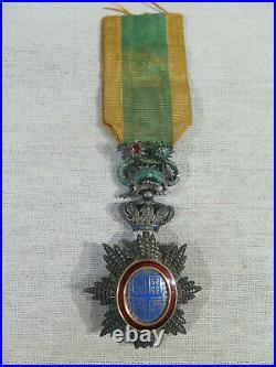 Ancienne Medaille Officier Ordre Royal Du Dragon D'annam Argent Email Colonie