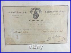 Authentique DIPLÔME MILITAIRE POUR MÉDAILLE DE St. HÉLÈNE 1821 NAPOLEON 1er