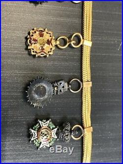 BARRETTE OR 18K 7 MEDAILLES REDUCTION à identifier médal bracelet ordre