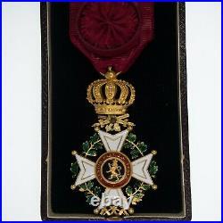 BELGIQUE. Médaille en or dofficier de lordre de Léopold, à titre militaire