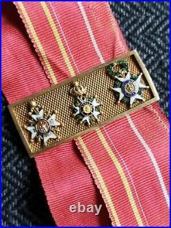 Barrette De Miniatures En Or Ordre Saint Louis Saint Ferdinand Legion D'honneur