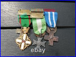 Beau placard 6 médailles italiennes WW1 et WW2 Italia medals set