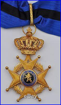 Belgique Croix de commandeur de l'ordre de Léopold II, légende bilingue
