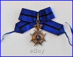 Belgique Ordre de Léopold II, croix de commandeur en vermeil