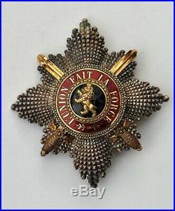 Belgique Ordre de Léopold, plaque de Grand Croix, militaire, signée Wolfers