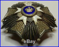 Belgique, Ordre de la Couronne, plaque de Grand Officier en argent, 81mm, 153gr