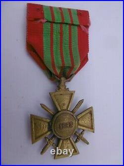 Belle Croix de Guerre 1943 dite de Giraud ruban d'époque french medal war