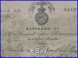 Brevet + 2 Médailles De Sainte Hélène 1857 #76019 Duc Plaisance Empire Napoléon