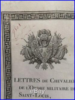 Brevet De Chevalier Ordre De Saint Louis 1817 Régiment Chasseurs Du Morbihan