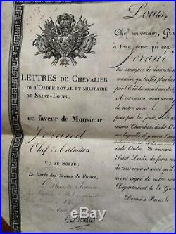 Brevet De Chevalier Ordre De Saint Louis 1821 Chef De Bataillon Diplome