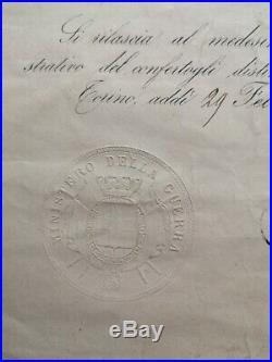 Brevet Médaille Al Valore Militare 1860 Second Empire Campagne D'italie