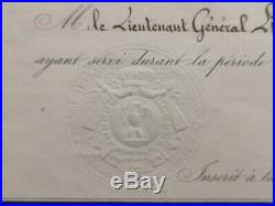 Brevet Médaille De Sainte Hélène 1857 #3128 Lieutenant Général Empire Napoléon