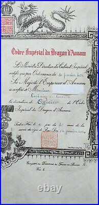 Brevet d'Officier de l'ordre du DRAGON D'ANNAM