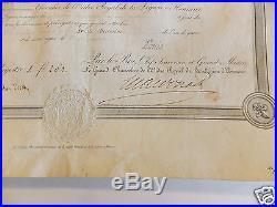 Brevet de Chevalier Légion d'Honneur 1816