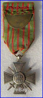 CROIX DE GUERRE 1914-1918 EN ARGENT avec 9 citations medaille WW1