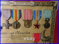 Cadre Militaire Avec 10 Medailles Guerre 1914-1918 Gaujoux Maurice