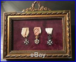 Cadre Restauration Ordre de Saint-Louis, Legion dHonneur en or, Lys émaillé