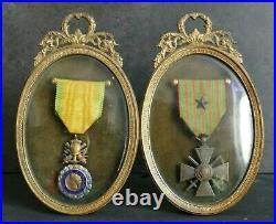 Cadre porte photo, présentoir à médailles, double style Empire Napoléon III