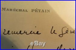 Carte manuscrite du Maréchal Philippe Pétain au Général Tilho 1938