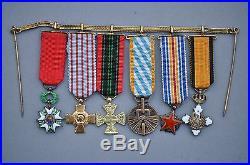 Chainette de 6 réductions Légion d'Honneur, résistance, Grece ordre du Phoenix