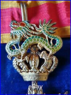 Commandeur Dragon d'Annam Fabrication Locale avec son diplôme 1943 Indochine