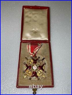 Croix de 3ème classe à titre militaire de Saint Stanislas (Russie) avec ecrin