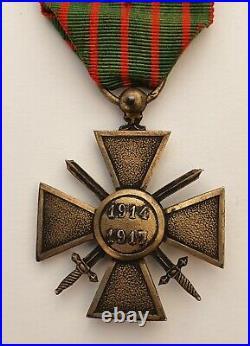 Croix de Guerre 1914-1917, en vermeil, 3 étoiles