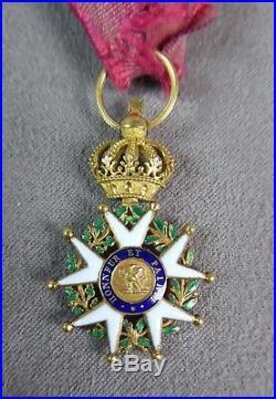 DEMI-TAILLE DE LA CROIX D'OFFICIER DE LA LEGION D'HONNEUR 1er empire. EN OR