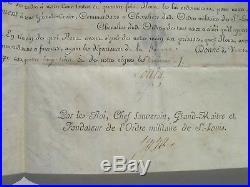 DIPLOME CHEVALIER ORDRE DE SAINT-LOUIS 1783 regiment infanterie de Bretagne