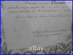 DIPLÔME et MEDAILLE CHEVALIER DE LA LEGION D'HONNEUR. Second Empire (1852-1870)