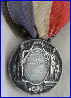 Dec5595 3 Medailles Actes Courage & Devouement 1850-1867-1873
