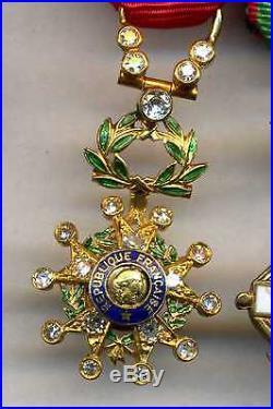 Décorations miniatures argent or diamants 2 barrettes ordres français et