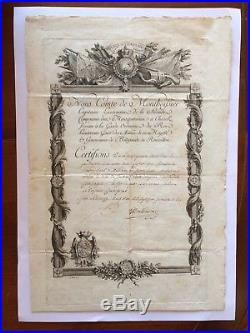 Diplôme Document Ordre St Louis 1770 Mousquetaires 2e Cie Roi Louis XV Rare