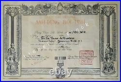 Diplôme Médaille Bravoure Vietnam De La Croix De Castries Dien Bien Phu 1953