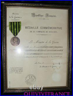 Diplome & Medaille Guerre 1870-1871 Garde Nationale Mobile De L'allier