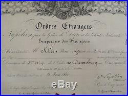 Diplome Ordre Du Dannebrog 3° Classe Second Empire Danemark Napoléon III France