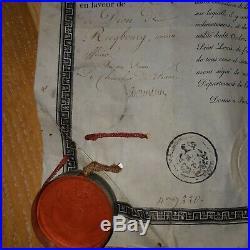 Diplome Ordre Saint Louis Cachet Rare empire 1816 napoleon marin marine anglaise