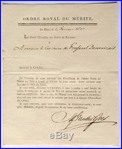Diplôme Ordre de l'Union Ordre Royal du Mérite Pays-bas Napoleon Empire 1807